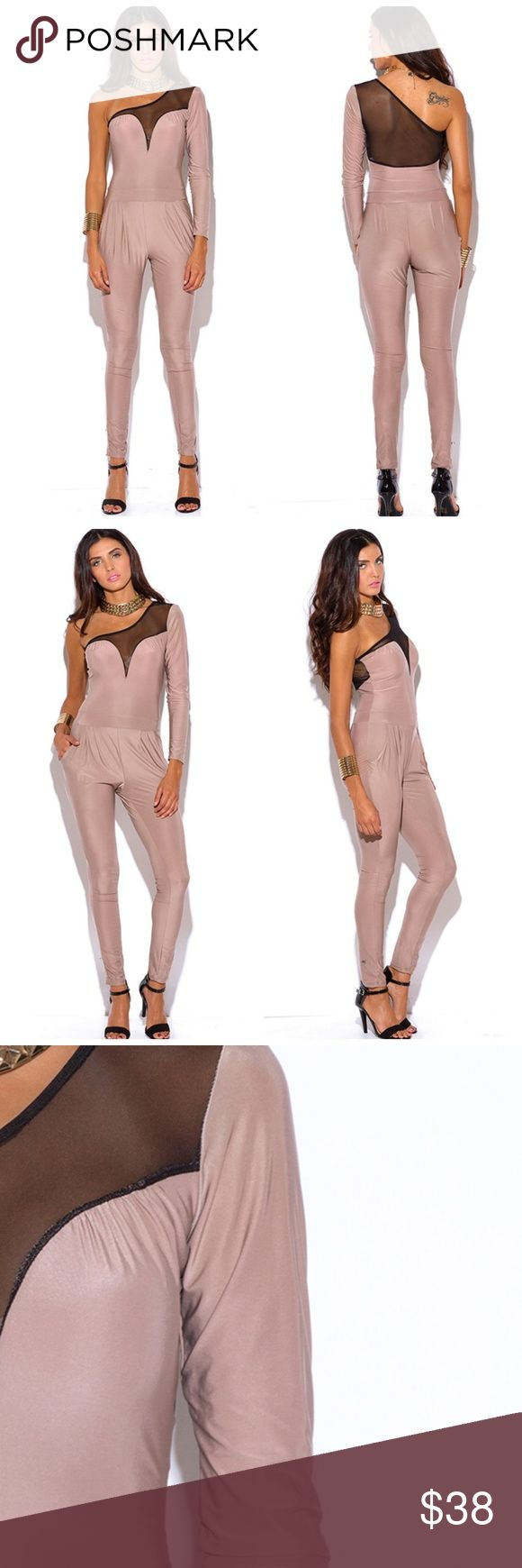 NUDE BEIGE MESH HAREM CLUBBING CATSUIT JUMPSUIT NUDE BEIGE MESH INSET ONE SHOULDER EVENING PARTY FITTED HAREM CLUBBING CATSUIT JUMPSUIT  This one sleeve jumpsuit is made for the stylish divas super comfortable stretchy material that falls in between matte and silky semi sheer  mesh back. Stretchy for an easy fit/unlined 96% polyester 4% spandex Pants Jumpsuits & Rompers