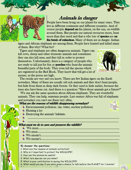 Animals in danger Reading Comprehension :http://myreadingkids.com/animals-danger-reading-comprehension/