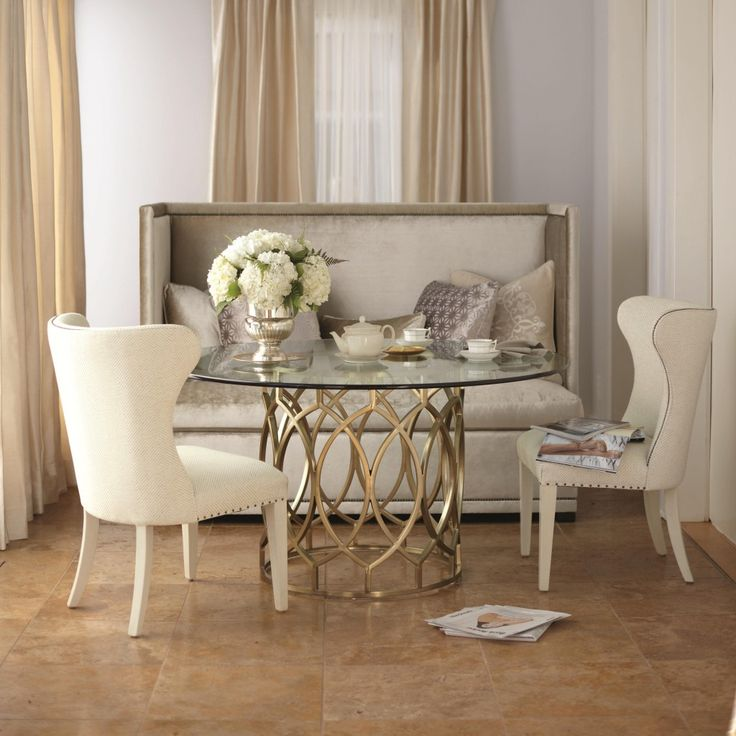 dining room traditional wingback dining chair with round glass dining table plus concrete flooring also