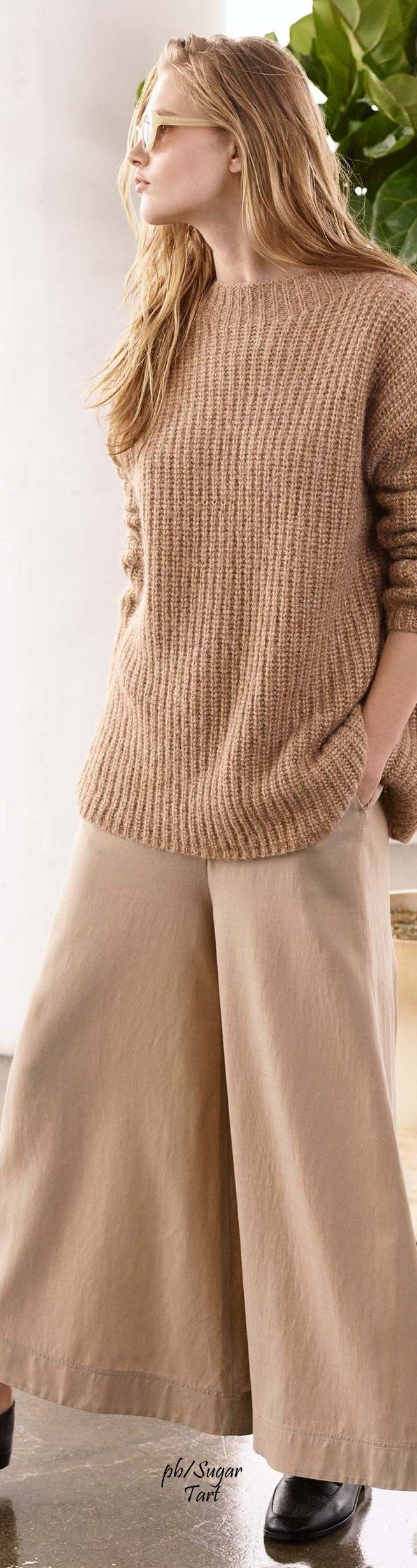 camel knit sweater women fashion outfit clothing style apparel @roressclothes closet ideas