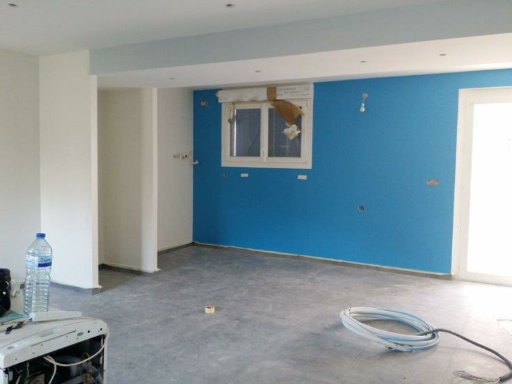 Du bleu sur le mur de la cuisine