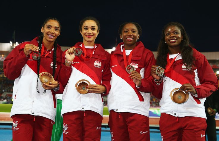 Bronze medalists Asha Philip, Bianca Williams, Jodie Williams and Ashleigh Nelson of England