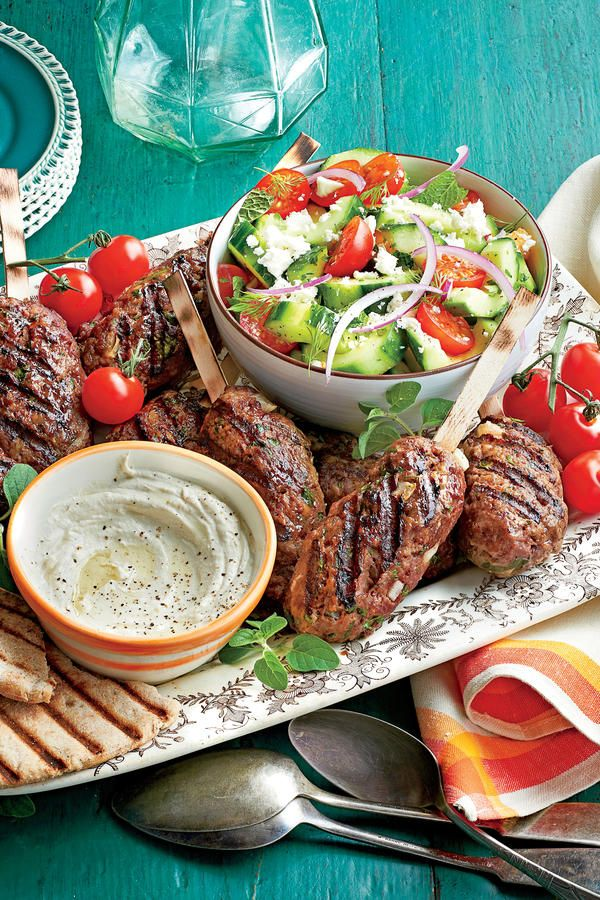 Ground Beef Recipes: Spiced Beef Kabobs with Herbed Cucumber and Tomato Salad