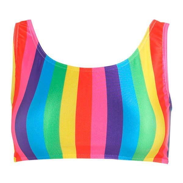 Rainbow Stripes Crop Bikini Top Womens Swimsuit Sports Tumblr Hipster... (€20) ❤ liked on Polyvore featuring swimwear, bikinis, bikini tops, silver, women's clothing, bathing suits two piece, crop top swimsuit, sport bikini, swim suit tops and swimming costume