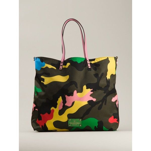 Valentino Garavani Camouflage Shopper Tote ($698) ❤ liked on Polyvore featuring bags, handbags, tote bags, valentino handbags, shopping bag, valentino purses, camouflage purses and colorful tote bags