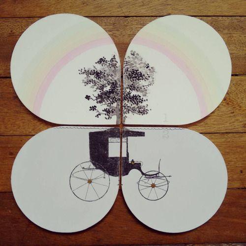 """ Debajo del arcoiris "" set de 4 posa vasos pieza única #Himallineishon #illustration #coasters #art #homedecor"
