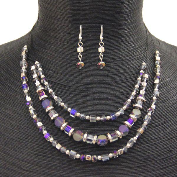 PURPLE/SILVER #CRYSTAL NECKLACE+EARRING SET  JKNE076PUSI #jacquelinekent #ksajewelry #jacquelinekentjewelry