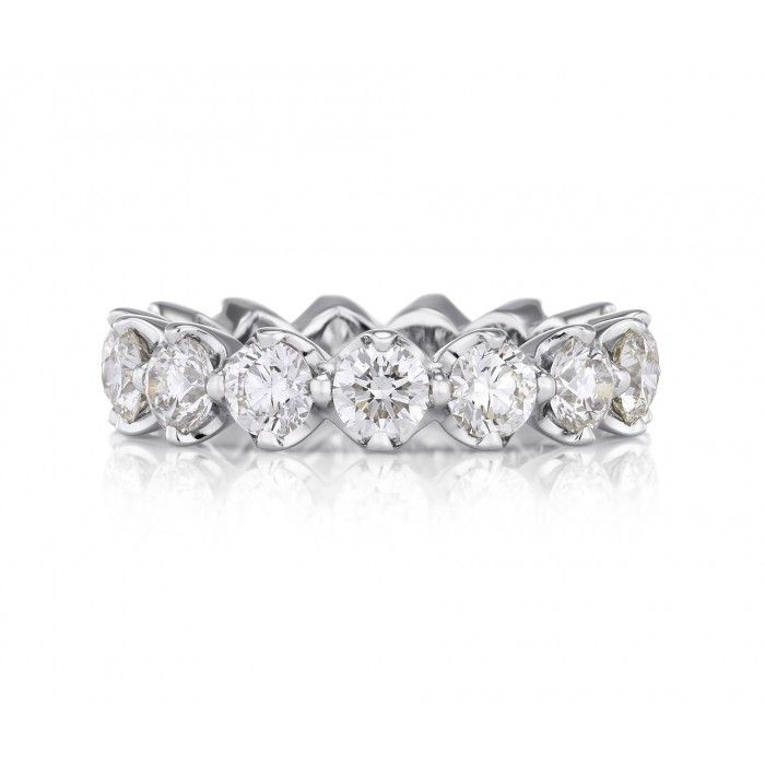 De Beers Allegria Eternity Band As a Diamond is Forever, our eternity bands have a timeless appeal to treasure for a lifetime. Designed to bring you happiness for all eternity. This timelessly elegant platinum band is prong-set with 15 round brilliant diamonds.