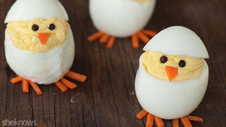 Turn boring deviled eggs into adorable hatching chicks with this easy recipe