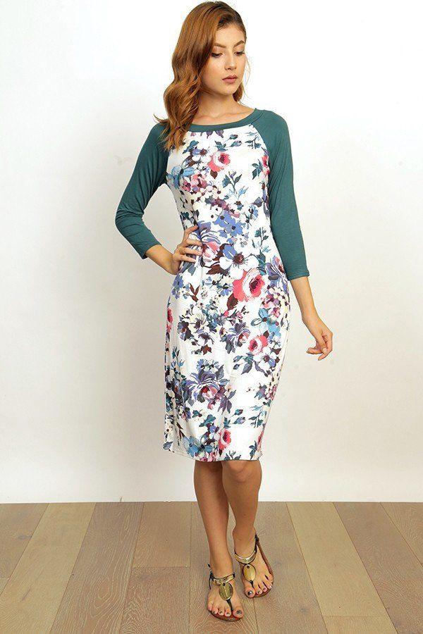 Floral Raglan 3/4 Sleeve Midi Dress