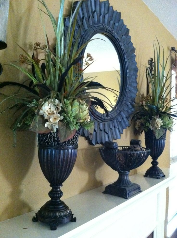 Pair of Tall Faux Floral Arrangements  by GreatwoodFlorals on Etsy, $290.00
