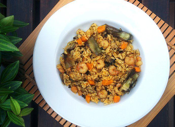 Arroz con alcachofas y gambas para #Mycook http://www.mycook.es/cocina/receta/arroz-con-alcachofas-y-gambas