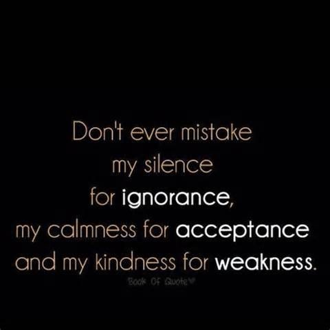 Image detail for -Don't mistake my silence for ignorance; don't mistake my calmness for ...: True Quotes, Fun Recipes, Remember This, Mistake, True Words, Well Said, Quotes Life, Damn Straight, True Stories