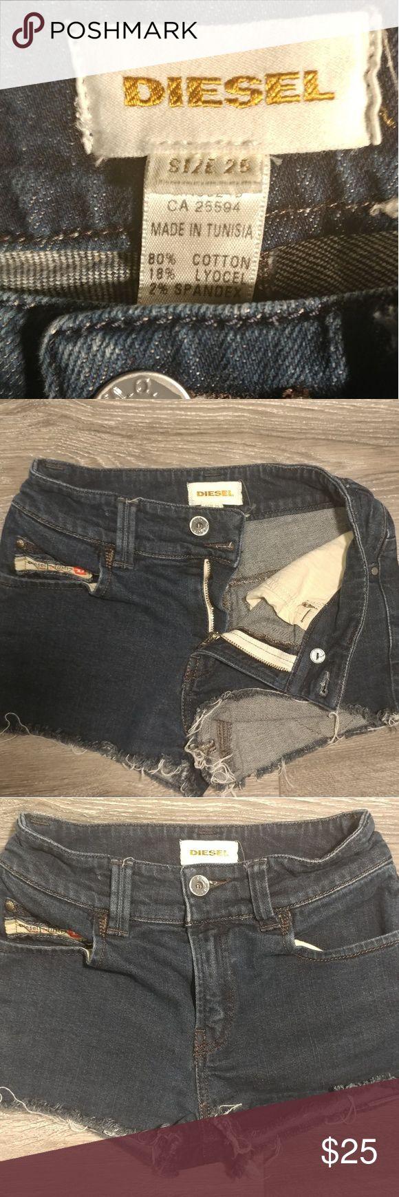 Diesel womens shorts Diesel women's distressed denim shorts. Size 25. Dark blue. Diesel Shorts Jean Shorts