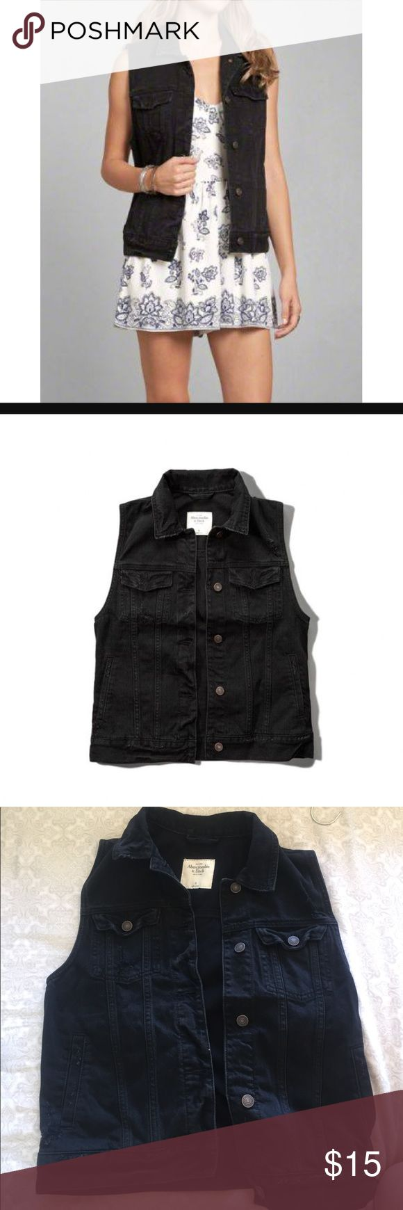 Abercrombie and Fitch Black Jean Vest Work once for a costume! Great/New Condition! Size S! Abercrombie & Fitch Jackets & Coats Jean Jackets