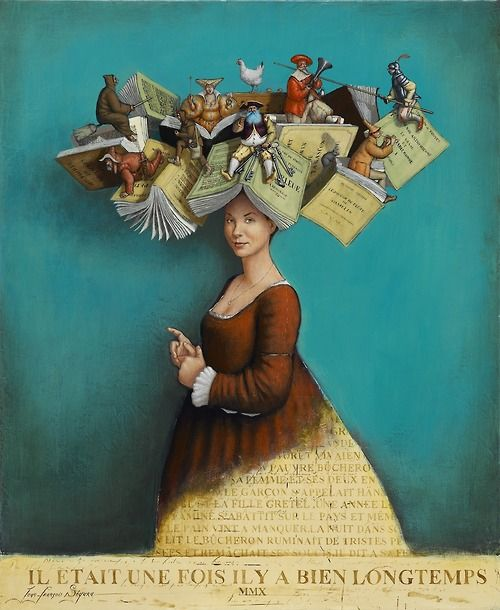 """books0977: Storyteller. Jean-François Segura (1955-). """"Storytelling wasn't about making things up. It was more like inviting the stories to come through her, let themselves be told."""" ― Jennifer McMahon, Don't Breathe a Word"""