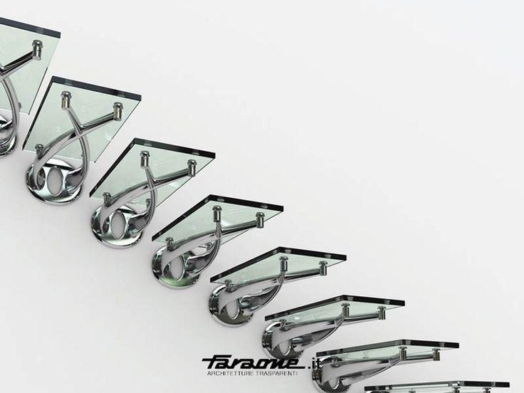 Escalera volada de acero inoxidable y vidrio TWIN by FARAONE diseño Roberto Volpe