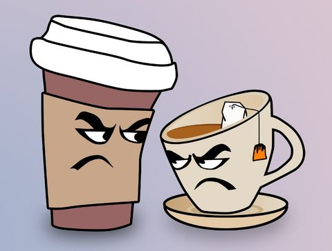 Tea vs coffee. A new study suggests coffee increases risk of cardiovascular mortality, while tea reduces these risks.