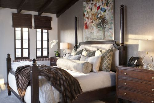 Master Bedroom -  exposed brick windowsills, large focal art, white linens with patterned tile European shams