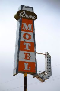 Arena Motel in Shelby, Montana  The sign is all that remains