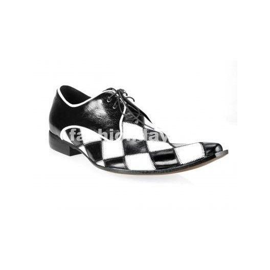 Pánske kožené extravagantné topánky čierno-biele - fashionday.eu