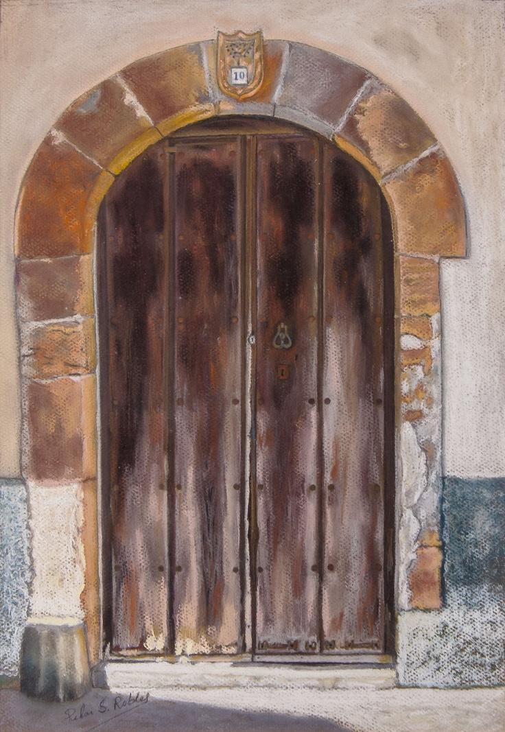 Pilar Sánchez Robles.  Puerta con linaje. Pastel. 64x51.