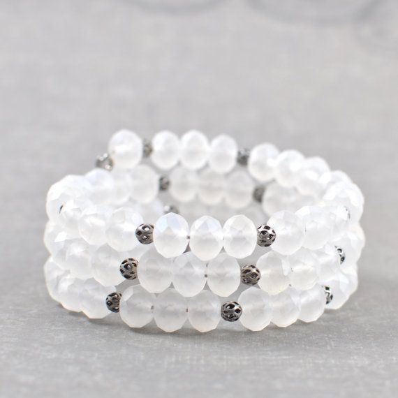 White Bracelet Frosted White Faceted Czech by ZuzusPetalsCreations, $28.00