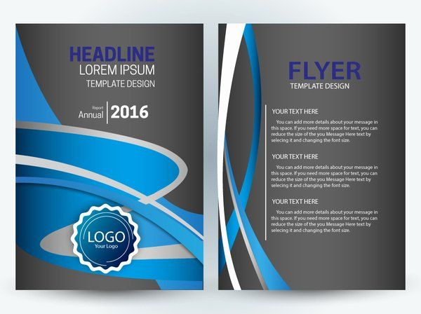 Adobe Illustrator Flyer Template Unique Flyer Template Design With Dark And Curves Background Fre In 2020 Free Brochure Template Free Flyer Templates Free Flyer Design
