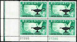 US #1206 Stamps for sale  4 cents Higher Education Stamps  Featuring Map of US & Lamp  Plate Block of 4 Stamps  LL 27286-27295  US 1206-3