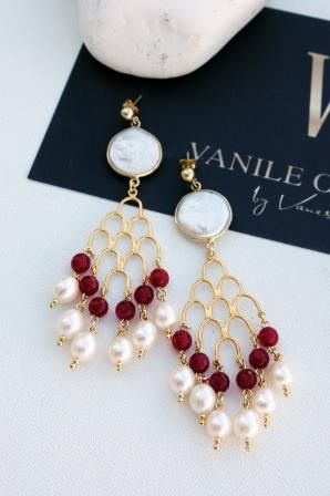 VERSAILLES RUBY AGATE, FRESH WATER PEARLS & GOLD PLETED STERLING SILVER CHANDELLIERS www.vanileontherock.com