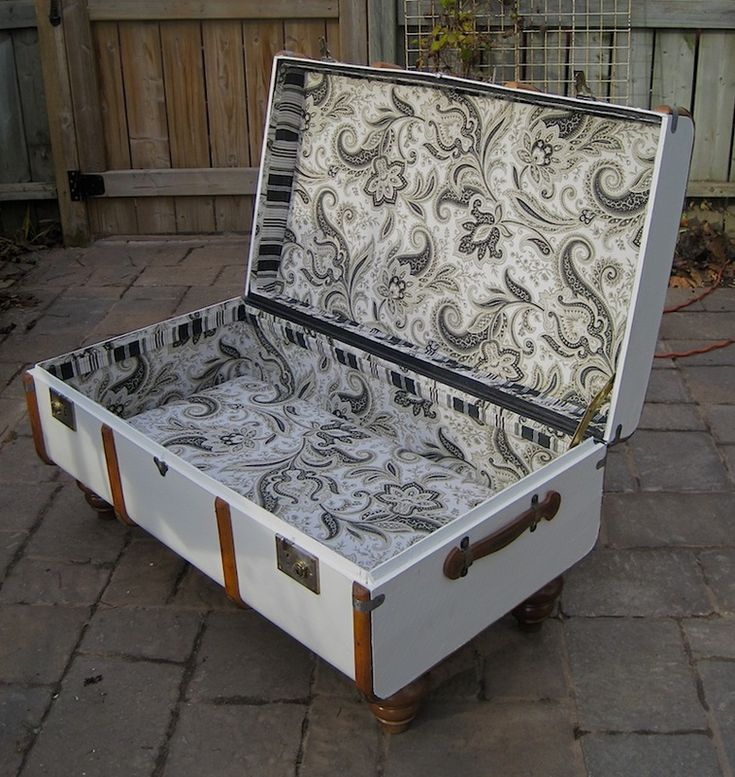Repurposed antique steamer trunk fully lined with vintage fabric - www.portaverdestudio.com