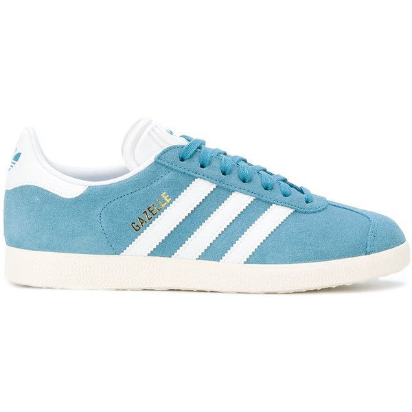 Adidas Adidas Originals Gazelle sneakers (£58) ❤ liked on Polyvore featuring shoes, sneakers, blue, adidas sneakers, blue shoes, blue trainers, leather flat shoes and blue leather sneakers
