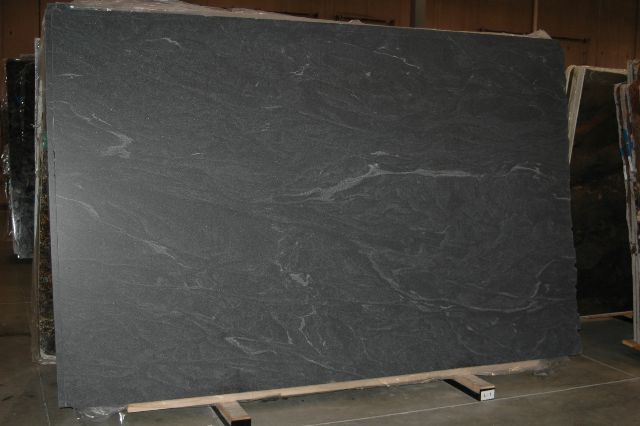 Jet Mist granite; dark gray with subtle veining
