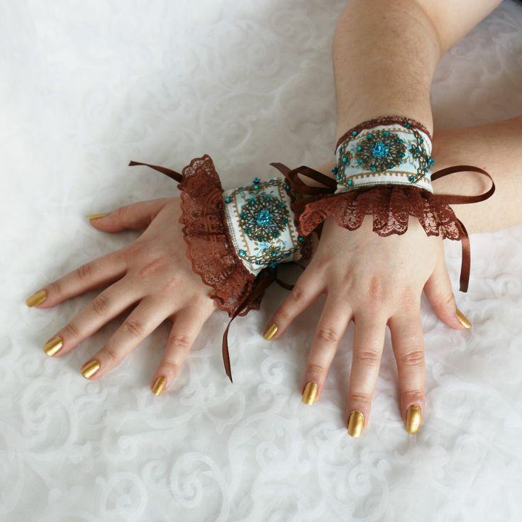 Brown-blue wrist cuffs, bracelets, wrist wraps, steampunk, lolita, princess, romantic, fairy, fantasy by AlicesLittleRabbit on Etsy