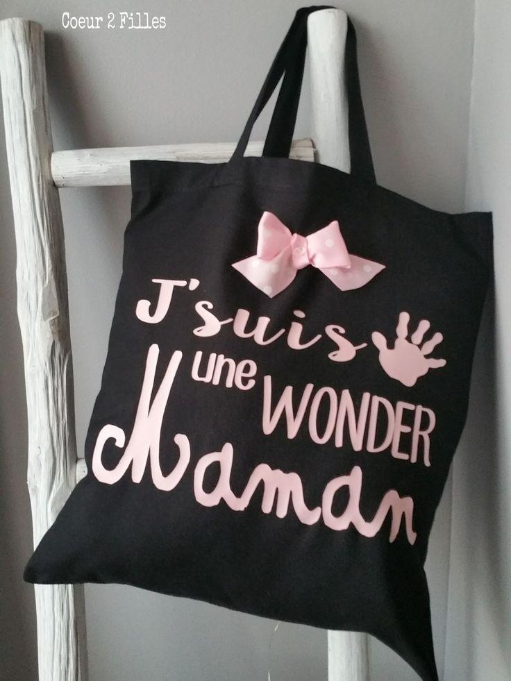 Le tote bag spécial Noël pour une wonder maman : Autres sacs par coeur-2-filles
