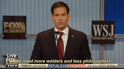 New trending GIF on Giphy. debate republican marco rubio gopdebatenov15 less philosophers we need more welders and less philosophers more welders. Follow Me CooliPhone6Case on Twitter Facebook Google Instagram LinkedIn Blogger Tumblr Youtube