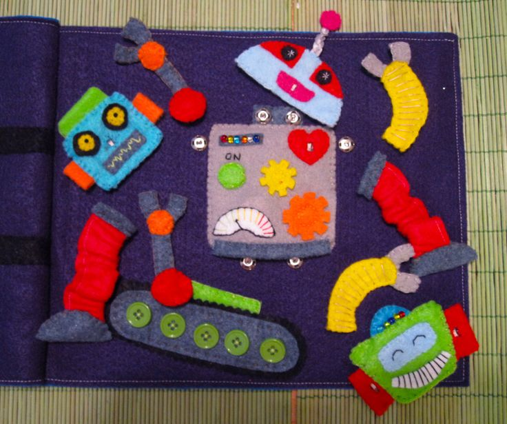 LED Robot Quiet Book Page -  maybe use this as the base for build your own monster with glowing eyes ...
