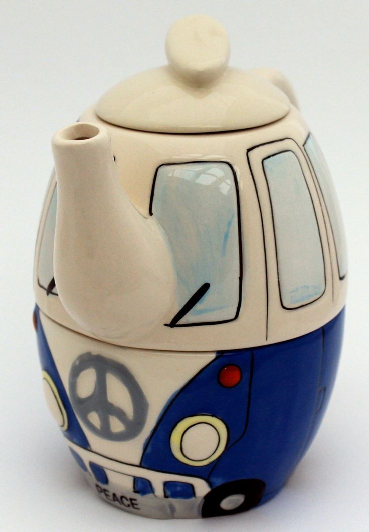Peace van tea for one stacking teaset (teapot and cup) decorated like a 1960s Volkswagen van with peace symbol and PEACE licence plate, ceramic