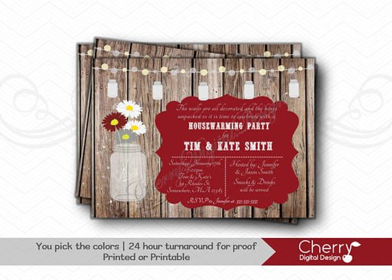 Wooden, Rustic, Mason Jar Housewarming Party Invitation.  Open House Invitation. Maroon & Gray, Other colors available. PDF Invite. Printed