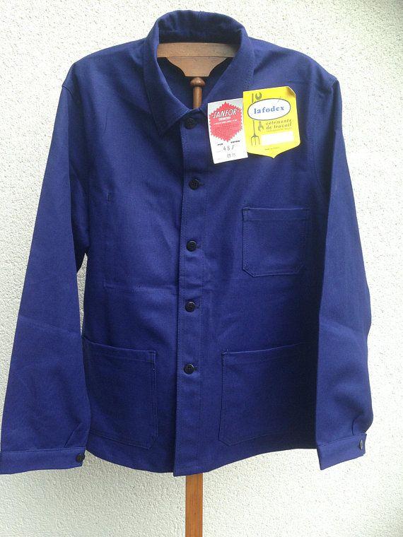 Vintage French chore jacket Bugatti blue  Work Jacket size Medium