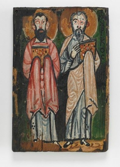 1906: Freer develops a keen interest in Egypt's ancient art and monuments with his first trip there. He acquires the fifth-century biblical manuscript known as the Washington Manuscript of the Gospels, the third-oldest extant parchment codex of the Gospels. St. Mark and St. Luke; right cover of the Washington Manuscript of the Gospels; Egypt, Byzantine period, 7th century; encaustic painting on wooden panel; Gift of Charles Lang Freer; F1906.298