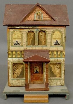 bliss dollhouse for sale | Dollhouse; Bliss, Lithographed Paper on Wood, 2-Story, Front Portico ...