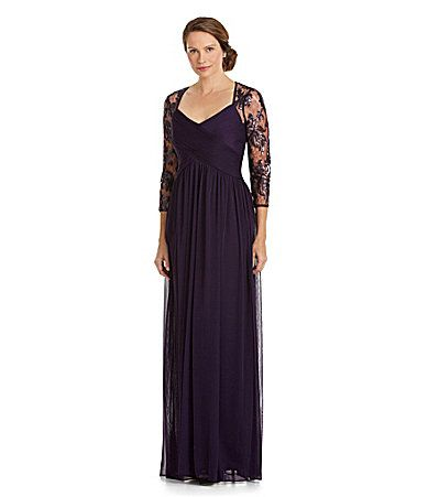 Adrianna papell sequinedlace shirred gown dillards mother for Dillards wedding dresses mother of the bride