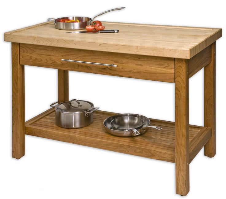 Unfinished Teak Wood Kitchen Island Table Stand With Storage And Drawer In Small Kitchen Plus