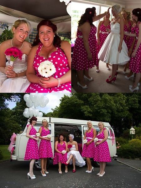 Polka Dot Bridesmaid Dresses But Diffe Color