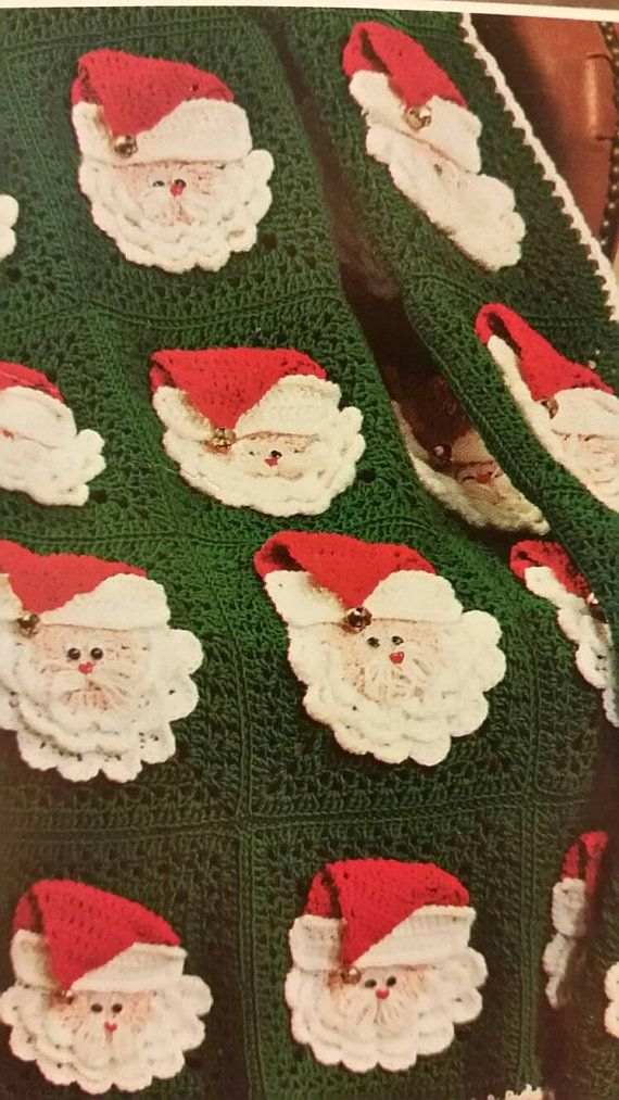 PLEASE READ- CUSTOM Made to Order Santa Squares Afghan Santa Claus Squares Christmas Afghan Throw Blanket Holiday Xmas Decor