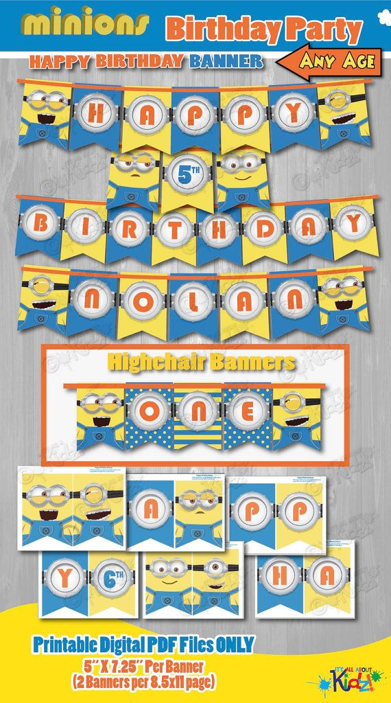 Minion Birthday Banner-Minion Banner-DIY by ItsAllAboutKidz
