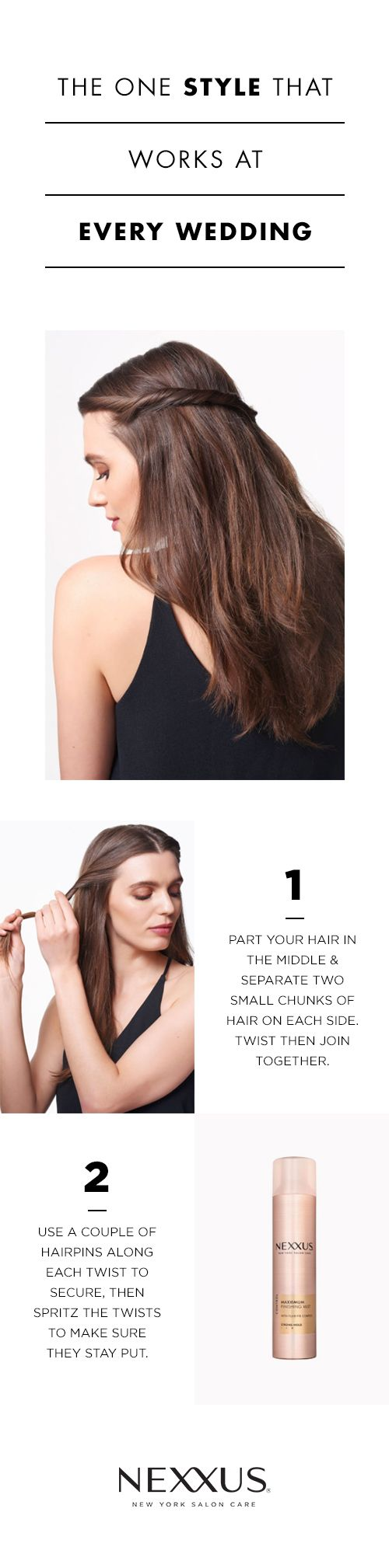 Simple yet elegant hair that can withstand the the weather at an outdoor wedding? We're sold. This easy twist hairstyle takes no more than five minutes to achieve, yet it is infinitely more special than leaving your hair completely down. Plus it's remarkably simple—a couple of twists, a few pins, and you're done—and yet, we are sure you'll be undeniably striking.