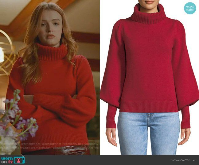 6eb75ff0a Kirby s red turtleneck sweater on Dynasty. Outfit Details  https   wornontv.