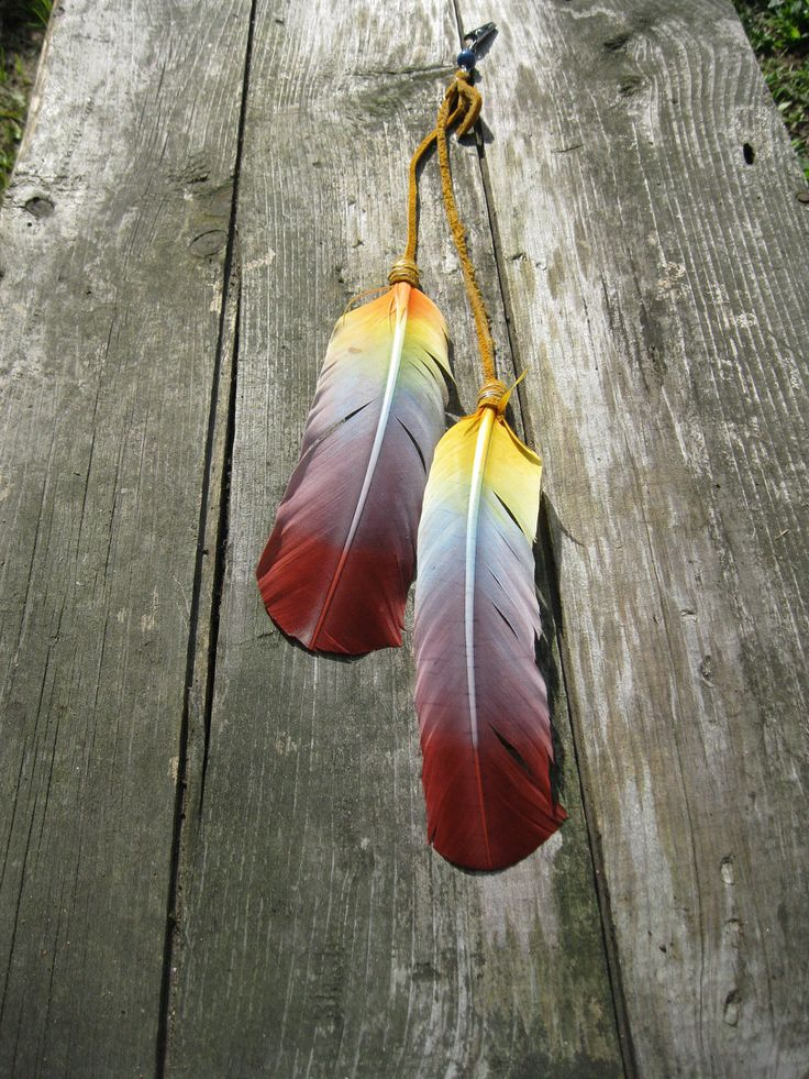 Sale hand dyed feather and buckskin rainbow by for Native crafts for sale
